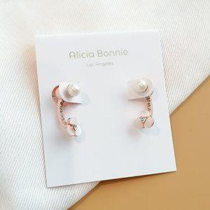 AB Shimmer Mother of Pearl ear jacket earrings